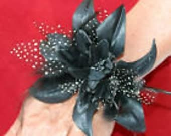 Flower Wrist Corsage on Beaded Bracelet Choice of Pale Pink, Dark Pink, Black and Peach