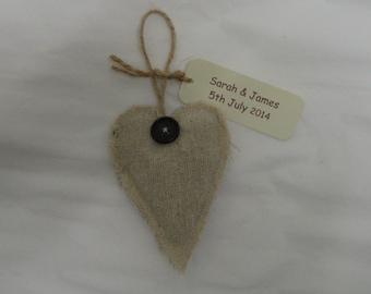 Set of 20 linen fabric lavender hearts