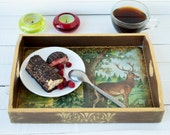 Wooden Serving Tray , Deer in the forest, Vintage look, Wooden tray ,Serving tray ,Wood  tray, Green, Brown, Tea tray, Tray with handles