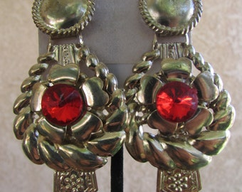 Vintage earring- Red and gold flower drop earrings- 90s jewelry