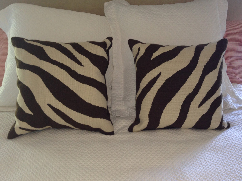 Jayson Home And Garden 18x18 Zebra Needlepoint Pillows