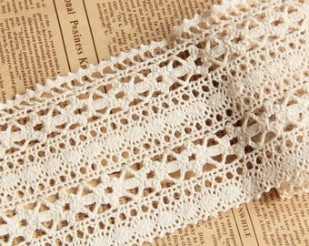 Beige Cotton Lace TrimEmbroidery Hollow Out Lace Trim 3.93 Inches Wide 2 Yards L0148