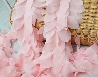 High Quality Light Pink Chiffon Leaves Lace Trim 1 Yard B01