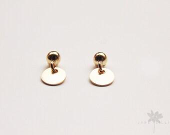 Tiny 14 k gold filled gold disc circle charm geometric sequin drop dangle stud post earrings