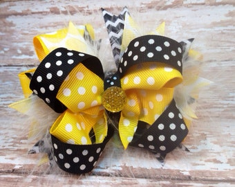 Yellow & Black Sweetheart Bow