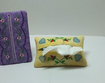 Embroidered Tissue Holder.