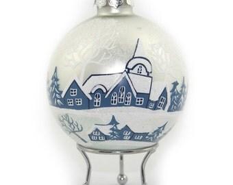 White Handpainted Glass Christmas Winter Church Bauble