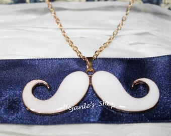 White Mustache Necklace - Mustache Pendant - Gold Necklace