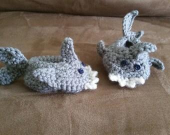 Crochet shark baby booties