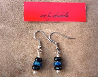 Blue semi-precious stone earrings