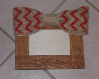 4x6 Rustic Picture Frame with Burlap Red Chevron Print Bow