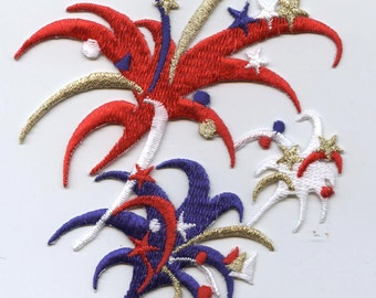 Large Red, White, and Blue Fireworks Iron on Applique  691715
