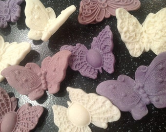 12 in flight butterflies edible sugar paste cupcake toppers,    cake decorations, ideal for wedding cakes and birthday cakes