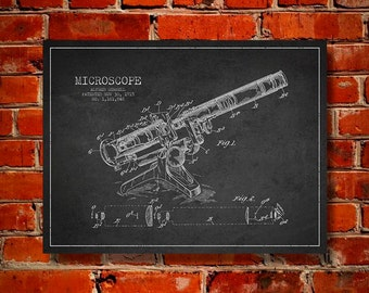 1915 Microscope Canvas Art Print, Wall Art, Home Decor, Gift Idea