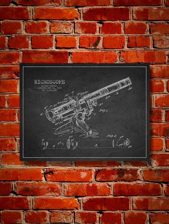 1915 microscope canvas art print wall art home decor gift