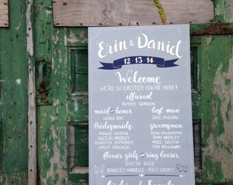 Personalized wedding program sign | chalkboard wedding program | custom wedding signage