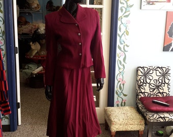 FREE SHIPPING !!1940 wool 2 piece set skirt and jacket vintage for women size small