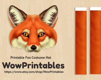 Fox Costume Hat - PRINTABLE Download - easy to make! ( Black and white template also included! )