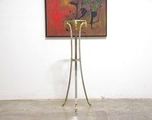 Italian Steel & Brass Rams Head Pedestal Table