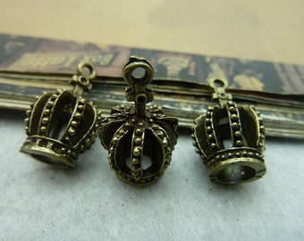 10pcs 12x22mm Antique Bronze Lovely 3D Crown Charm Handmade Jewelry Pendants Accessories A