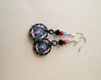 Handmade sculpey and crystal earrings