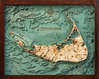 Wood Chart of Nantucket, Massachusetts  16x20 - Small