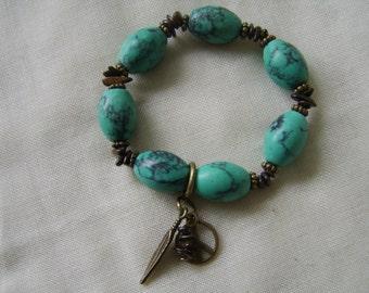 Howlite And Bronzite Gemstone Charm Bracelet