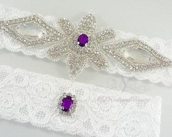 Bridal Garter, Wedding Garter, Purple Rhinestone Garter Set, Crystal Applique Garter, Handmade Custom Garter, Beaded Garter GTA0064P