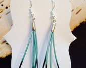 Porcupine Quill earrings. 2 inch. Turquoise- sterling silver hooks. Native American