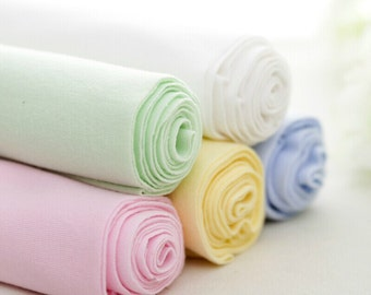 Cotton rib knit fabric,Cotton knit fabric,Ribbing and Binding Knit 5 solid colors  -  67X7.8 inch/170X20cm