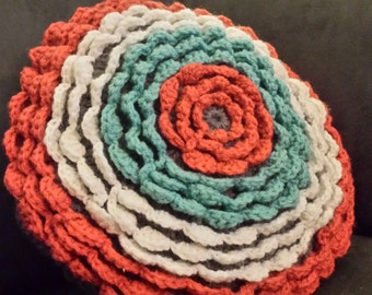 Floral Ruffle Coral and Teal Pillow