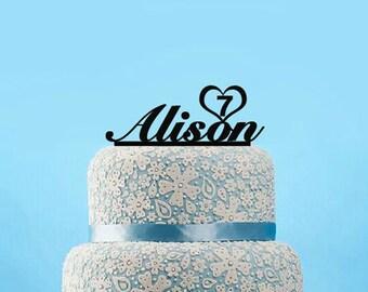 Custom cake topper-baby name cake topper-baby shower cake topper with age-unqiue cake topper gift for child-modern birthday cake topper