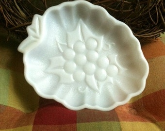 Vintage Milk Glass Grape Candy dish