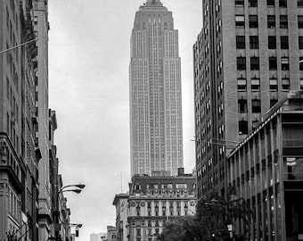 Vintage Black and White Photography Fine Art Print, Empire State Building From The Street