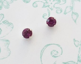 Earrings vintage violet drops