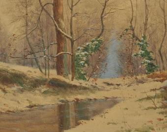 Antique oil painting, landscape, British artist signed