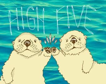 High Five / Sea Otters - 5x7 or 8x10 Art Print