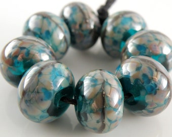 Life of the Party SRA Lampwork Handmade Artisan Glass Donut/Round Beads Made to Order Set of 8 8x12mm