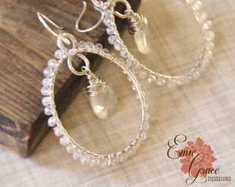 READY TO SHIP - Clear Quartz and Pearl White Chalcedony Hoop Earrings, Sterling Silver Gemstone Bead Earrings, Wire Wrapped, Wedding Jewlery