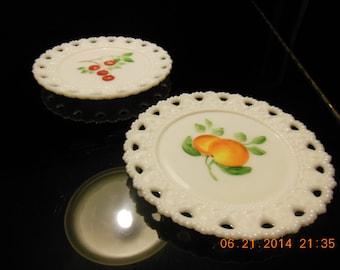 Vintage Fruit Milk Glass Plates