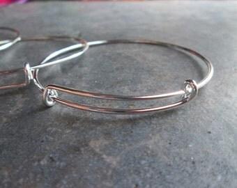 Set of 3  silver finish adjustable bangle bracelet blanks expandable bangle bracelets popular style