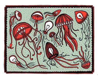 Jellyfish 25.8 x 19.3 cm (excluding witrand 5 cm), piezograph (Art Print)