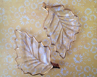 Vintage Glass With Gold Edging Leaf Candy Dish Set