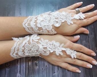 Wedding gloves White bridal lace gloves fingerless gloves french lace gloves, Alencon lace gloves
