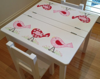 Child's Bird Desk and Two Chair Set - Bird Design in Cherry Red/Pink, Children's Furniture, Table and Chairs, Children's Table and Chairs