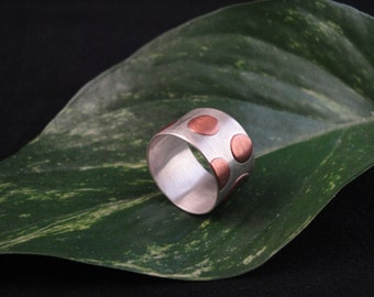 Handmade Sterling Silver and Copper Wide Ring, Size: 7