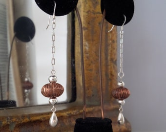 Dangle Black Copperr and Sterling Silver (925) Earrings