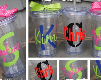 Clear Monogram Tumbler with lid and straw VINYL