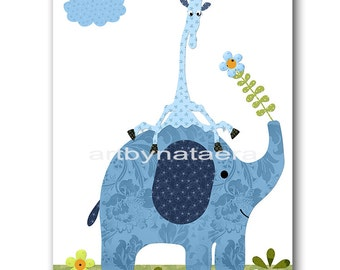 Elpephant Nursery Art Giraffe Nursery Print Baby Boy Nursery Decor Digital Art Printable Print Digital Download 8x10 11X14 INSTANT DOWNLOAD