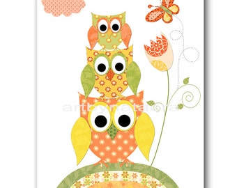 Owl Decor Owl Nursery Art for Children Printable Digital Print Baby Girl Nursery Print Digital Download Print 8x10 11X14 INSTANT DOWNLOAD
